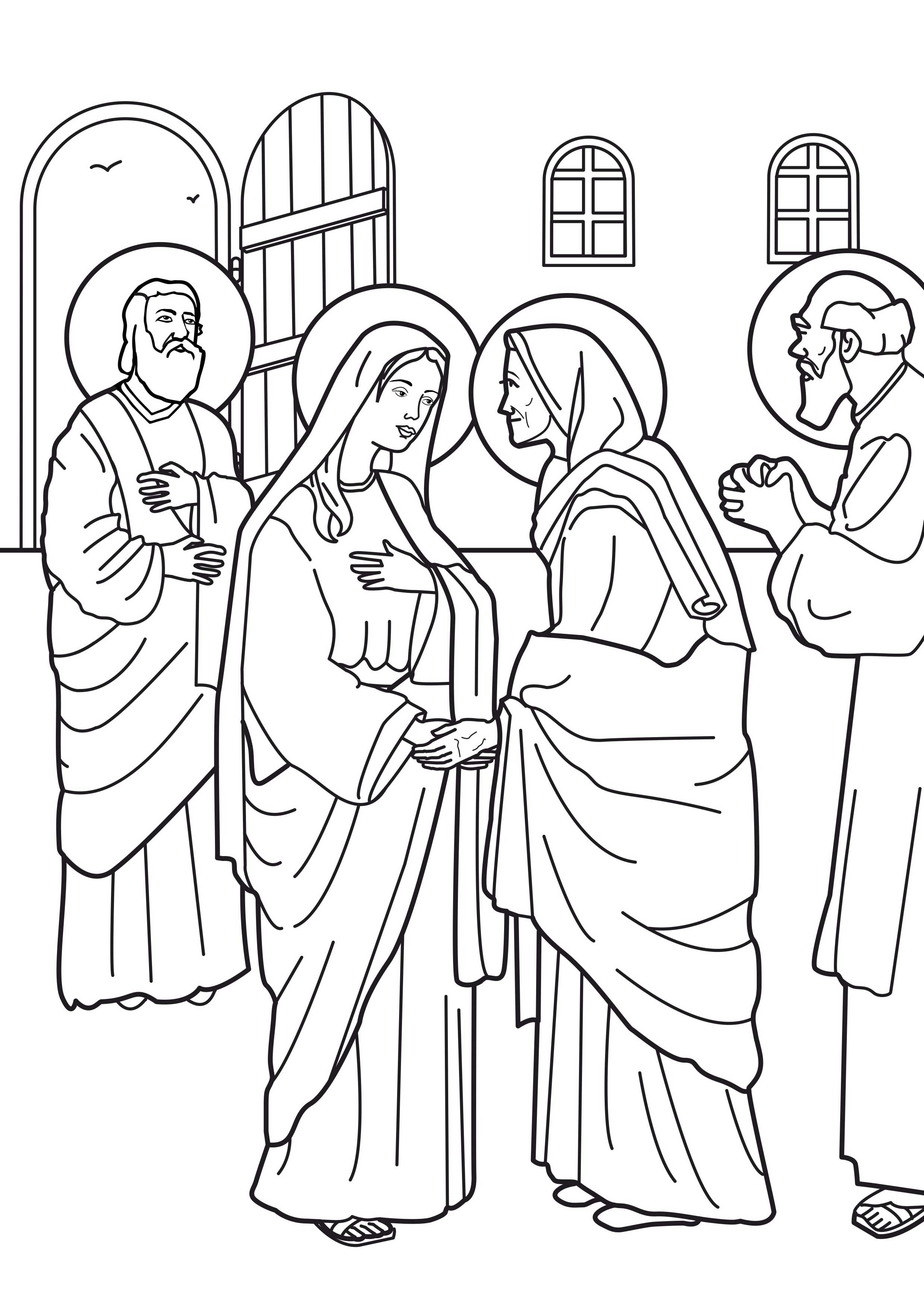 New testament for Mary visits elizabeth coloring page